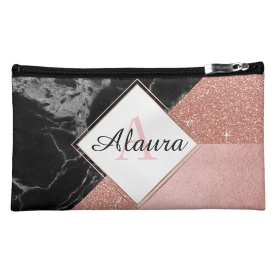 Black Marble and Rose Gold Cosmetic Bag