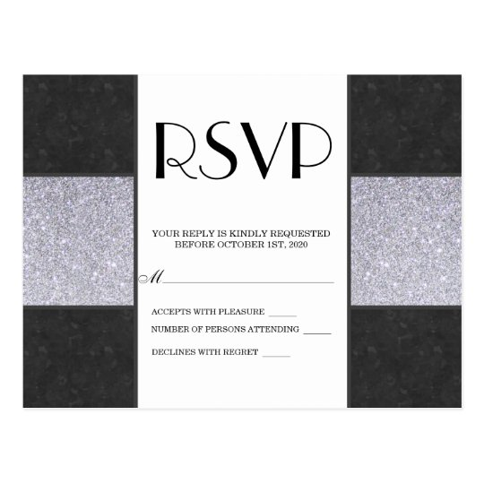Black Marble and Silver Glitter Panel Design Postcard