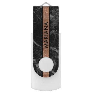 Black Marble B& Rose-gold Glitter Stripe USB Flash Drive