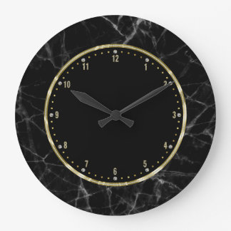Black Marble Gold & Glitter Accents Large Clock