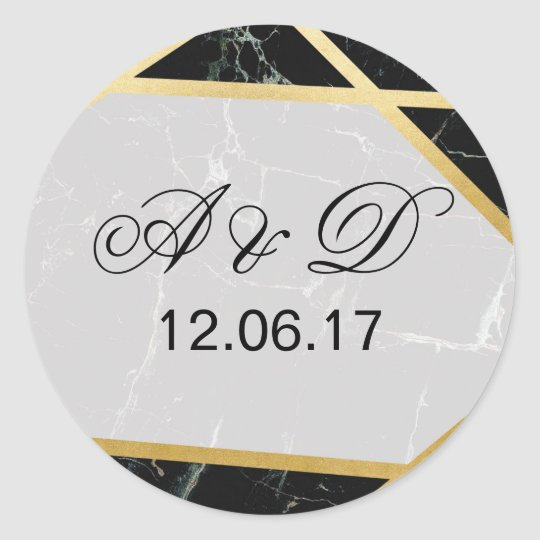 Black Marble Gold Wedding Initial Stickers Label