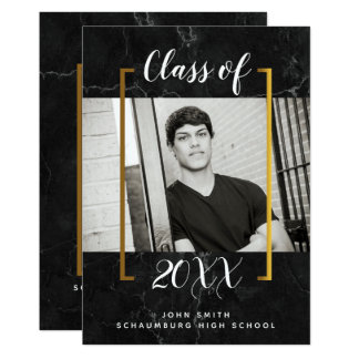 Black Marble Graduation Photo Announcement