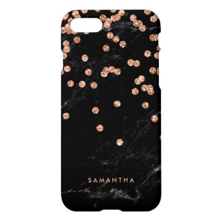 Black Marble Look with Faux Rose Gold Confetti iPhone 7 Case