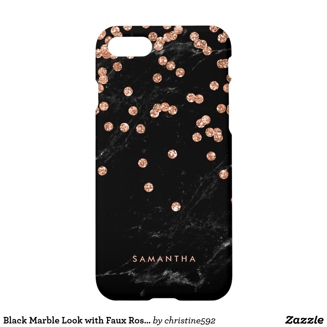 Black Marble Look with Faux Rose Gold Confetti iPhone 8 case