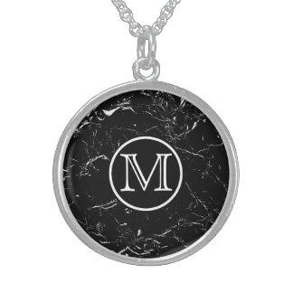 Black Marble Monogram Sterling Silver Necklace