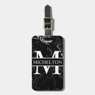 Black Marble Personalized Luggage Tag