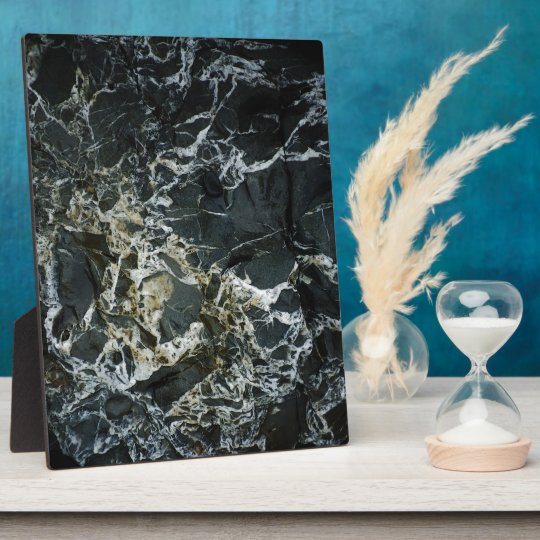 BLACK MARBLE ROCK Photo Print Plaque
