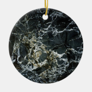 BLACK MARBLE ROCK Round Ceramic Decoration