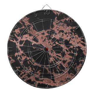Black marble rose gold glitter texture image dartboard