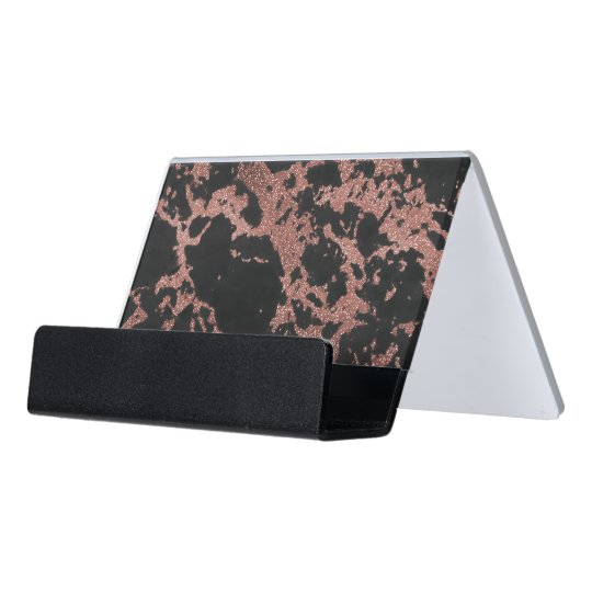 Black marble rose gold glitter texture image desk