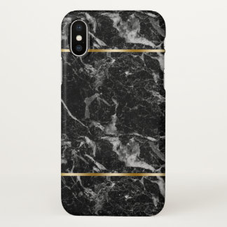 Black Marble Stone Gold Accent iPhone X Case