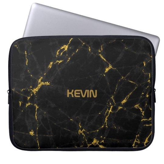 Black Marble Stone Texture Gold Accents Laptop Sleeve