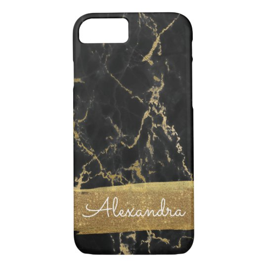 Black Marble with Gold Foil and Glitter iPhone