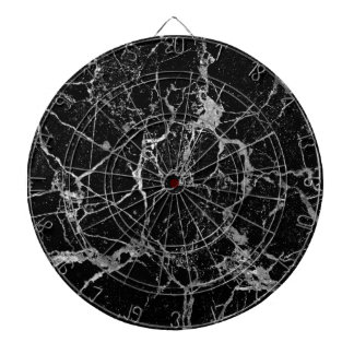 Black Marble with White Veining Dartboard