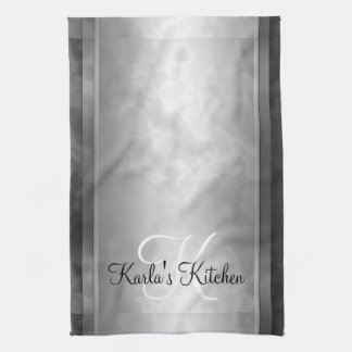 Black Marbled Personalized Tea Towel
