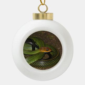 Black-margined Ratsnake or Green rat snake Ceramic Ball Christmas Ornament