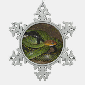 Black-margined Ratsnake or Green rat snake Snowflake Pewter Christmas Ornament