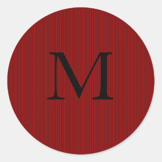 Black & Maroon Stripes- Initial Classic Round Sticker