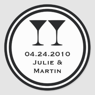 Black martini wedding favor tag seal label round sticker