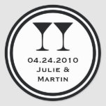 Black martini wedding favour tag seal label round stickers