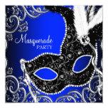 Black Mask Royal Blue Masquerade Party 13 Cm X 13 Cm Square Invitation Card