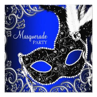 Black Mask Royal Blue Masquerade Party Invitation Card