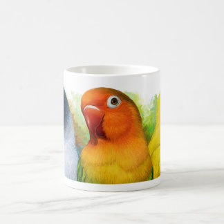 Black masked Fischer Lutino peach faced lovebird Coffee Mug