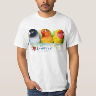 Black masked fischer Lutino peach faced lovebirds T-Shirt