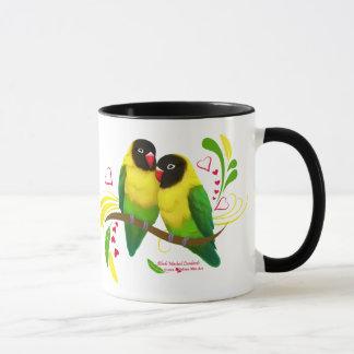 Black Masked Lovebirds Mug