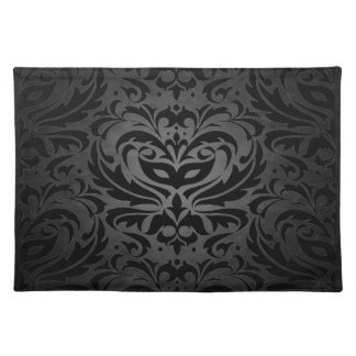 Black Masquerade Damask Stylish Placemat