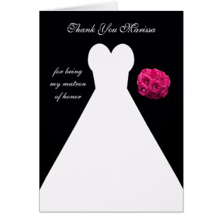 Black Matron of Honor Thank You Card -- Gown