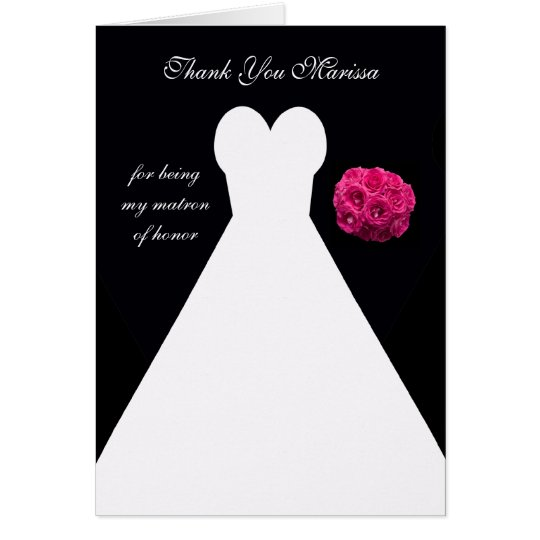 Black Matron of Honour Thank You Card -- Gown