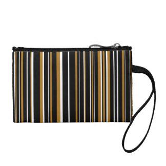 Black, Matte Gold, White Barcode Stripe Change Purse