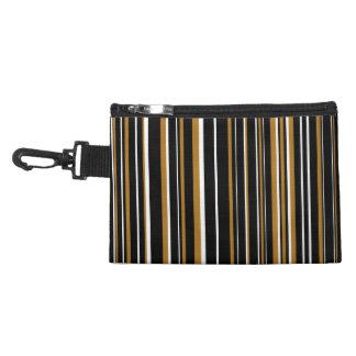 Black, Matte Gold, White Barcode Striped Accessory Bags