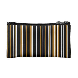 Black, Matte Gold, White Barcode Striped Makeup Bag
