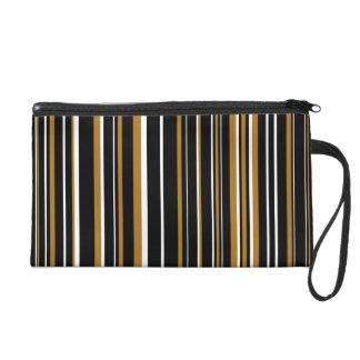 Black, Matte Gold, White Barcode Striped Wristlet Purses