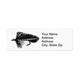 Black Matuka Trout Fly Return Address Label