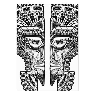 Black Mayan Twins Mask on White Business Cards