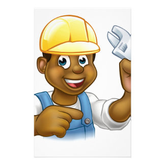 Black Mechanic or Plumber Handyman Customized Stationery