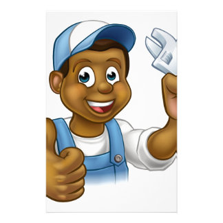 Black Mechanic or Plumber Handyman Stationery Paper