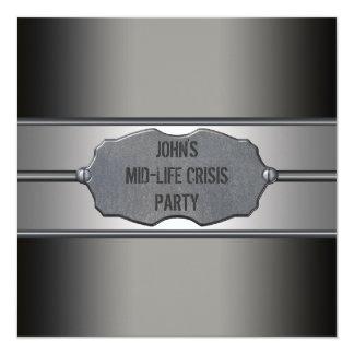 Black Meetal Mans 40th Birthday Party 13 Cm X 13 Cm Square Invitation Card