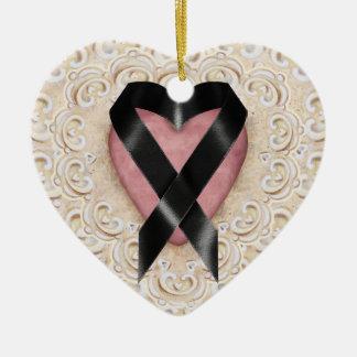 Black Melanoma Ribbon From the Heart - SRF Christmas Ornament