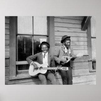 Black Men Playing Guitar, 1902 Poster
