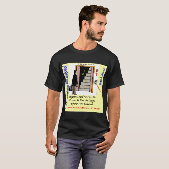 Black Men's T-Shirt Elevator Engineer Design