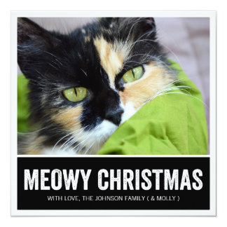 Black Meowy Christmas - Pet Photo Holiday Cards Invitations