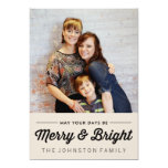 Black Merry & Bright Christmas Photo Flat Cards 13 Cm X 18 Cm Invitation Card