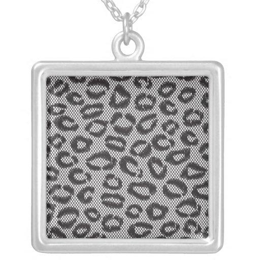 Black Mesh Animal Print Lace Cheetah Leopard Necklaces