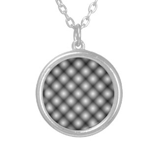 Black Mesh White Balls Moire by Kenneth Yoncich Round Pendant Necklace