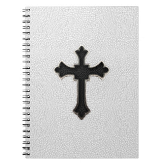 Black Metal Cross Spiral Notebook