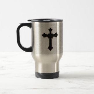 Black Metal Cross Stainless Steel Travel Mug
